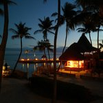 Tiki hut at night