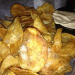 Home-made chips and special dip