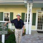 My husband, Bob Schwabach, stands in front of lobby.