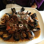 Black Squid Ink Linguine w/ Clams & Baby Calamari