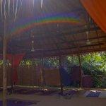 a rainbow in the yoga sala