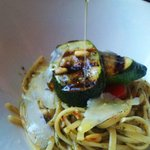 yummy Sicilian pesto pasta with char grilled zucchini from their garden and sh