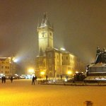 old town square in the snow!!