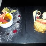 Tasty Creme brulee and Apple crumble