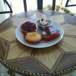 Strawberry tart, mousse, cream puff and lemon tart