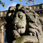One of the famous Lion sculptures, Saltaire