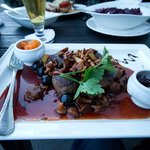 Be adventurous and order off the game menu! Venison medallions with cherry sau