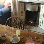 Open fire at breakfast.