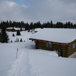 Our cabin and the lodge in the background from the path to the outhouse