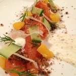 Gin Cured Salmon with Caper Creme, Cucumbers and Cara Cara Oranges