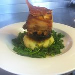 Slow Roasted Pork Belly in Aspalls, Black Pudding, Bubble & Squeak Cake
