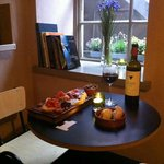 A bottle of Rioja and a mixed platter