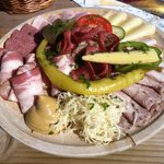 Brettel Jause mit gebdck.  Cold meat platter with cheese and bread - Lovely