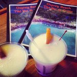 Tim made these amazing mango piña coladas!