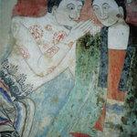 "Wat Phumin, Nan, Wandgemälde ""Krasip Rak"" (Liebesgeflüster, The Whispering)"