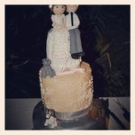Close up of our beautiful wedding cake