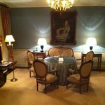 the sitting room in a hunting lodge room.