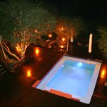 The pool deck at Bushcamp by night