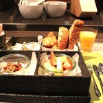Superb breakfast served in bento box.