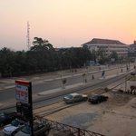 Sunrise over Cambodia, view from corridor balcony