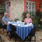 The shady courtyard for meals.
