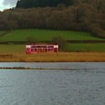 Pink tram at Axe Estuary