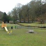 Play area and stream next door to the Wye Bridge.