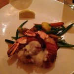 Bacon wrapped stuffed prawns with queso sauce...so yummy!