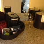 Coffee maker, wine glasses, etc.