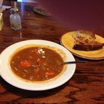 homemade beef soup and corn bread 1st course!