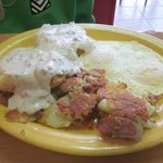 My son's biscuits and gravy, eggs & home fries