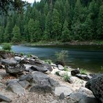 Beach along Clearwater River near Reflections Inn, Kooskia, Idaho.