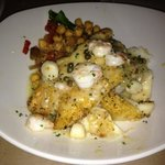 New Zealand dory with shrimp and scallops and garbanzo beans
