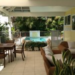 View from our covered outdoor area into the pool