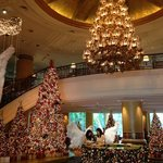 The grand foyer during Christmas