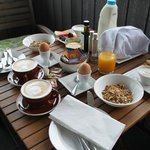 A wonderful complete breakfast with flat whites