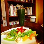lunch one. spirulina shake, steamed vegetables and prawns