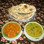 Garlic Naan, Butter Chicken, and Dal