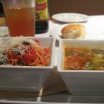 Angel Hair Pasta, Ice Tea and Minestrone Soup.