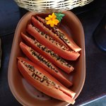 Breakfast features fresh papaya, mango, watermelon, melon