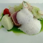 Grilled tuna with horseradish foam