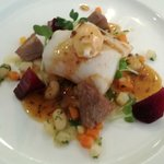 Atlantic cod with ox tongue and poached quail egg