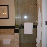 Walk-in shower with glass doors
