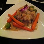 One of the evening specials: Chilean sea bass with roasted vegetables