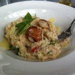 chilli/basil crab risotto with seared scollop