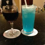 Wine and a Blue lagoon
