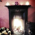 The fire in the main dining room is welcoming and warming on the cold Armagh e