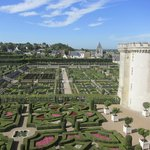 View of Villandry gardens from top floor of chateau.