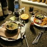 Room Service - Onion Soup and Burger