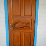 Front door of cabin, hand carved.  Beautiful